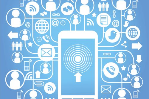 telephone social network blue