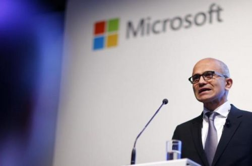 Microsoft CEO Satya Nadella holds a speech to present the companies new cloud strategy for Germany in Berlin, November 11, 2015. REUTERS/Hannibal Hanschke